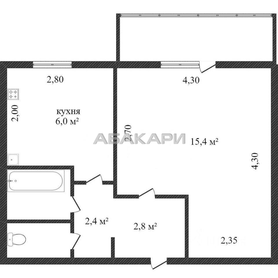 1к квартира улица Гусарова, 68 7/9 - 35кв | 13000 | аренда в Красноярске фото 0