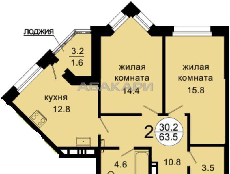 2к квартира Октябрьская ул., 8А 16/27 - 63кв   25000   аренда в Красноярске фото 16
